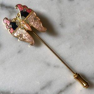 🔥 Vintage Cloisonné Butterfly Stick Pin